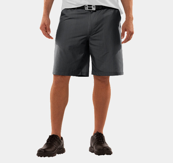 UNDER ARMOUR MEN FORGED STRIPE GOLF SHORTS 2.0 BLACK