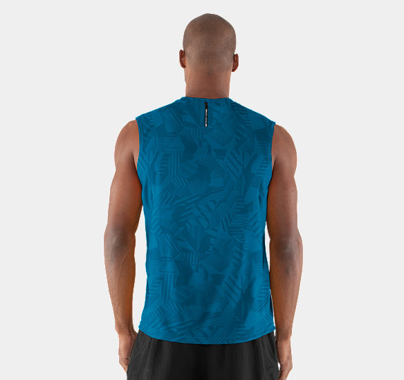 UNDER ARMOUR MEN COLDBLACK ENGAGE RUN SLEEVELESS T-SHIRT SNORKEL