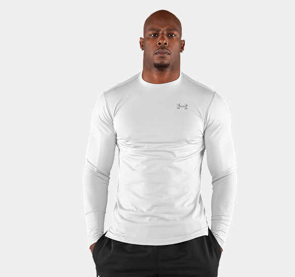 UNDER ARMOUR MEN COLDGEAR FITTED LONG SLEEVE CREW WHITE