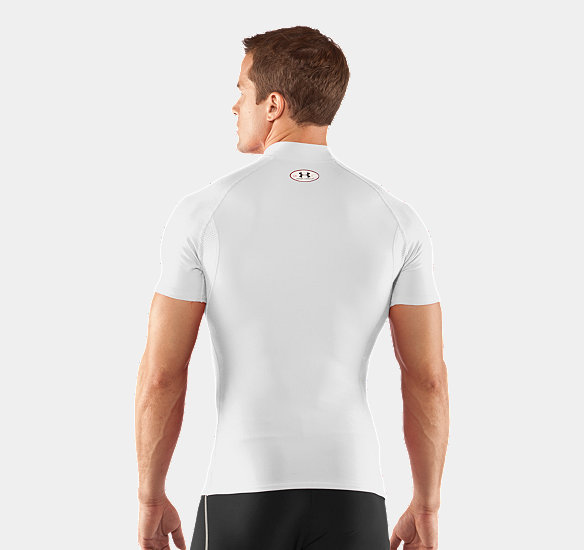 UNDER ARMOUR MEN COLDGEAR COMPRESSION SHORT SLEEVE MOCK WHITE