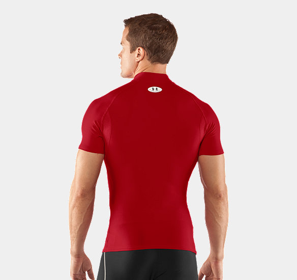 UNDER ARMOUR MEN COLDGEAR COMPRESSION SHORT SLEEVE MOCK RED