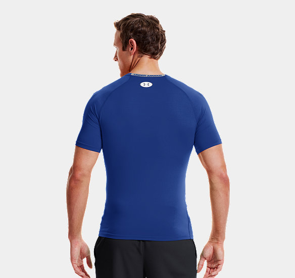 UNDER ARMOUR MEN HEATGEAR SONIC COMPRESSION SHORT SLEEVE ROYAL