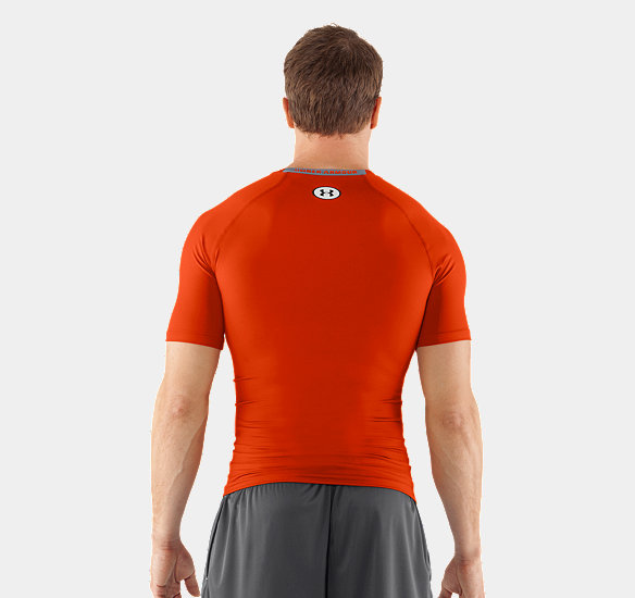 UNDER ARMOUR MEN HEATGEAR SONIC COMPRESSION SHORT SLEEVE DARK ORANGE