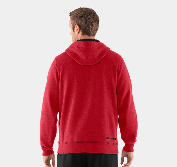 UNDER ARMOUR MEN CHARGED COTTON STORM TRANSIT FULL-ZIP HOODIE RED