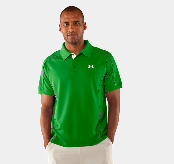 UNDER ARMOUR MEN PERFORMANCE PIQUE COLORBLOCK POLO TREE FROG