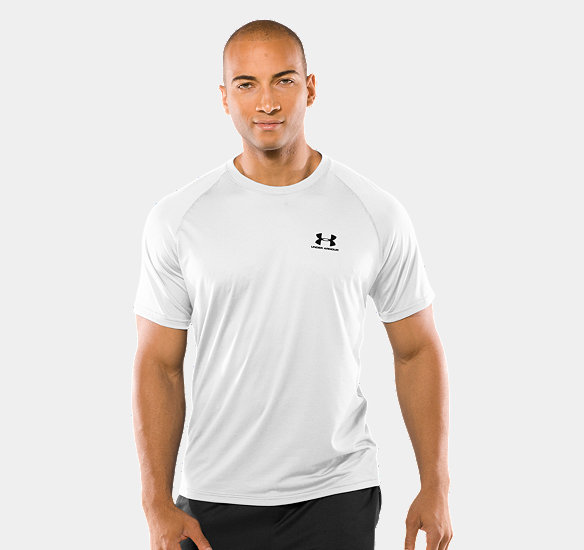UNDER ARMOUR MEN TECH SHORT SLEEVE T-SHIRT WHITE
