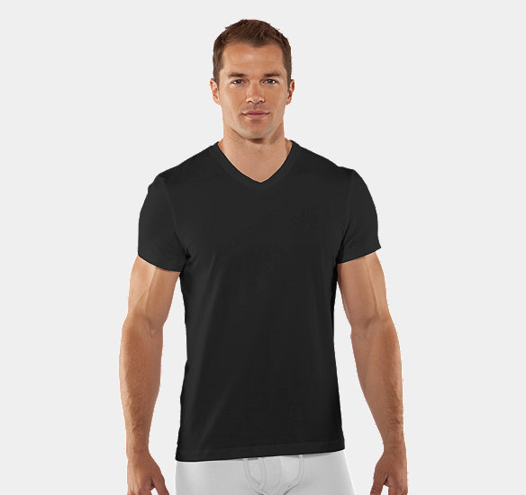 UNDER ARMOUR MEN CHARGED COTTON V-NECK UNDERSHIRT BLACK