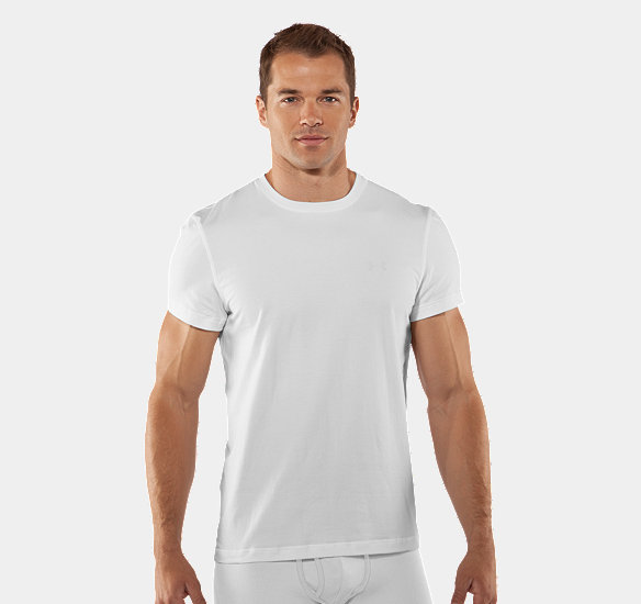UNDER ARMOUR MEN CHARGED COTTON CREW UNDERSHIRT WHITE