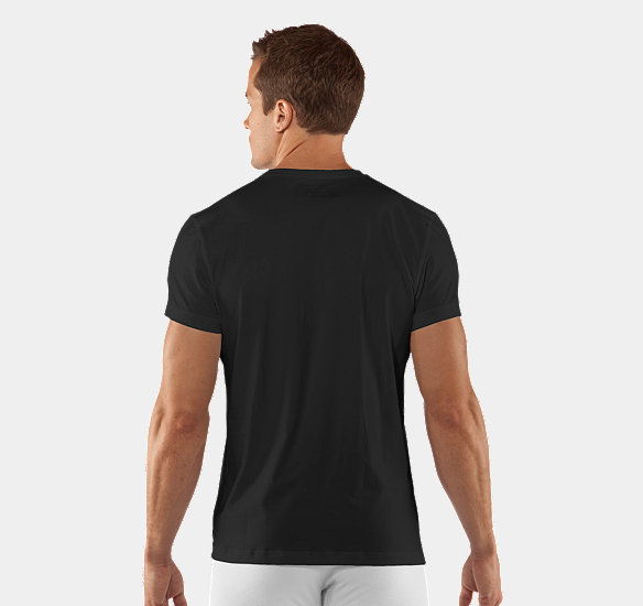 UNDER ARMOUR MEN CHARGED COTTON CREW UNDERSHIRT BLACK
