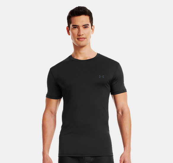 UNDER ARMOUR MEN THE ORIGINAL UNDER ARMOUR FITTED CREW UNDERSHIRT BLACK