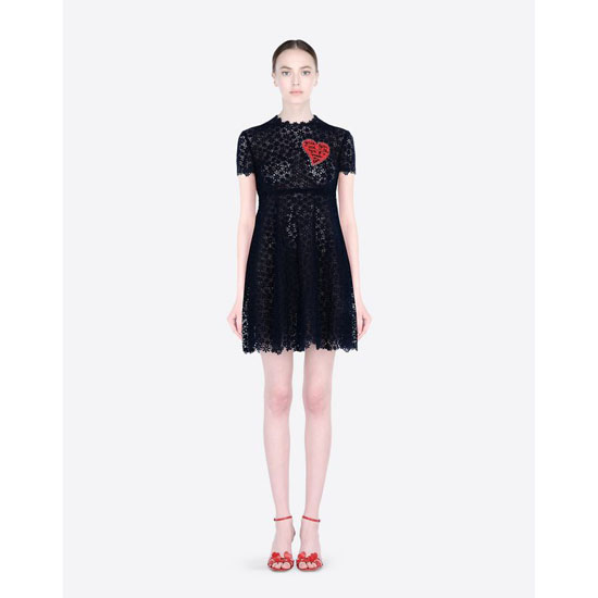 VALENTINO DRESS IN MACRAMÉ LACE WITH HEART JB3VA3H620H D52