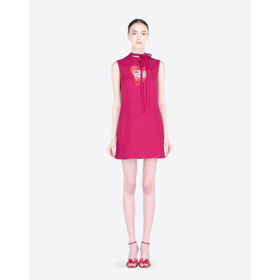 VALENTINO DRESS IN CREPE COUTURE WITH HEART JB3VA3L01CF F26