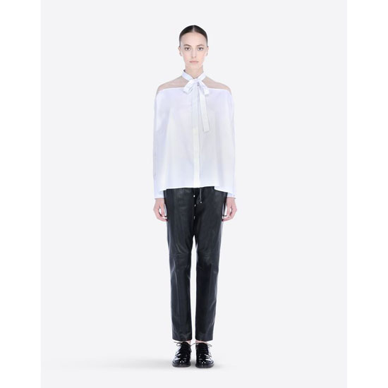 VALENTINO COTTON AND ORGANZA PUSSY-BOW SHIRT HBC80115-VC5102B 001