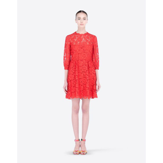 VALENTINO HEAVY LACE DRESS IB3VA1I51EC F28