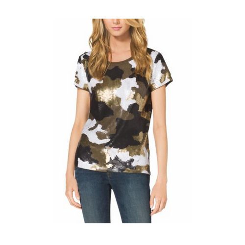 MICHAEL MICHAEL KORS Camouflage-Print Sequined Top, Plus Size GOLD